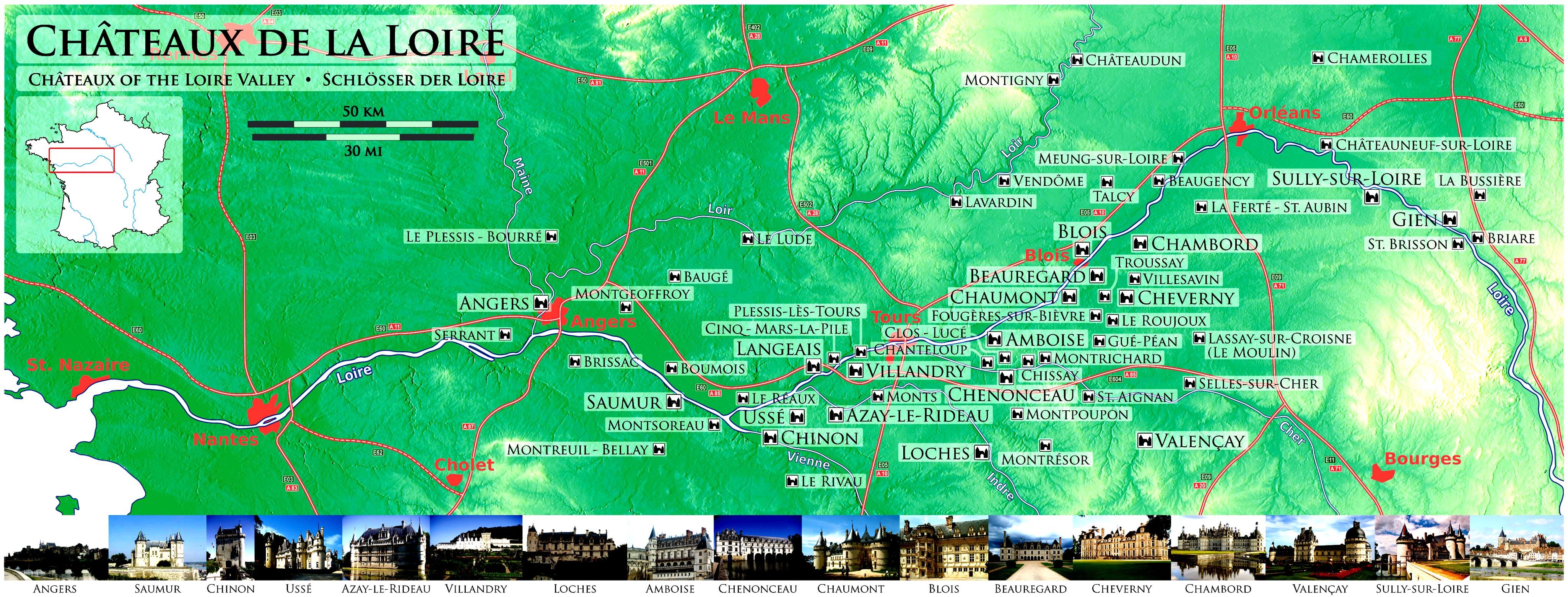 Замки долины Луары на карте достопримечательностей